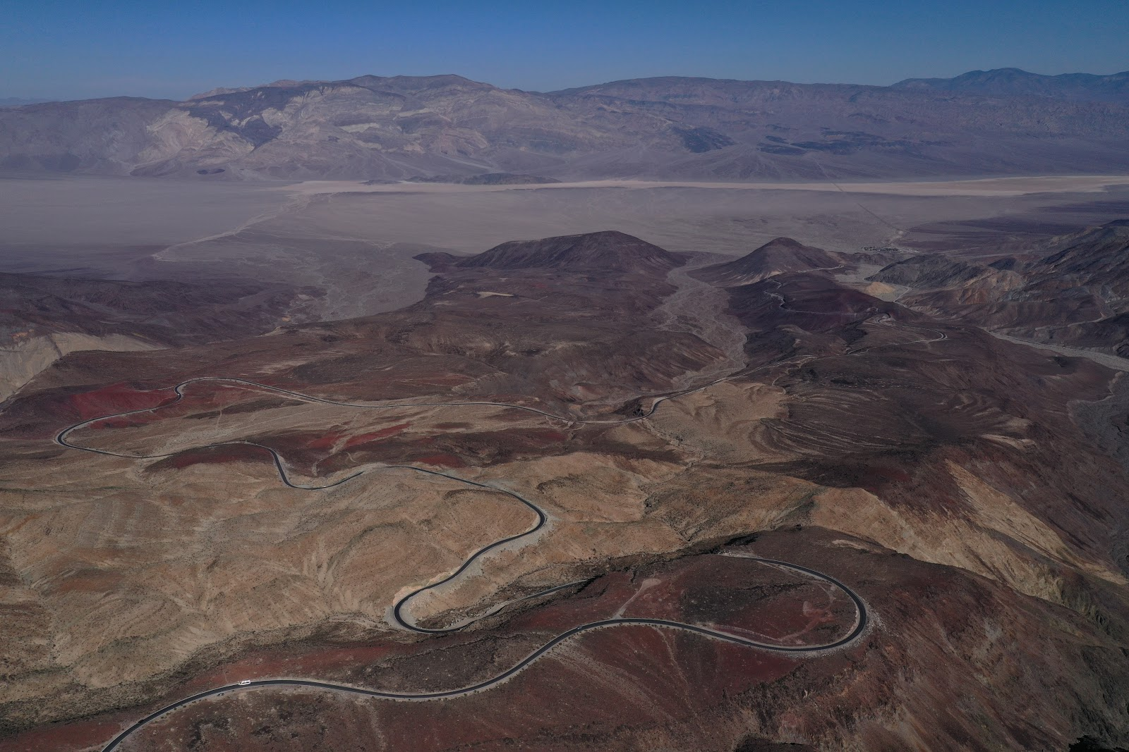Bicycle ride Panamint Grade - aerial drone photo of road and colorful mountains
