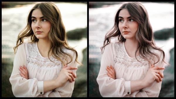 antes e depois da foto de uma mulher morena sendo que uma das fotos está sendo utilizado o filtro Mint do AirBrush