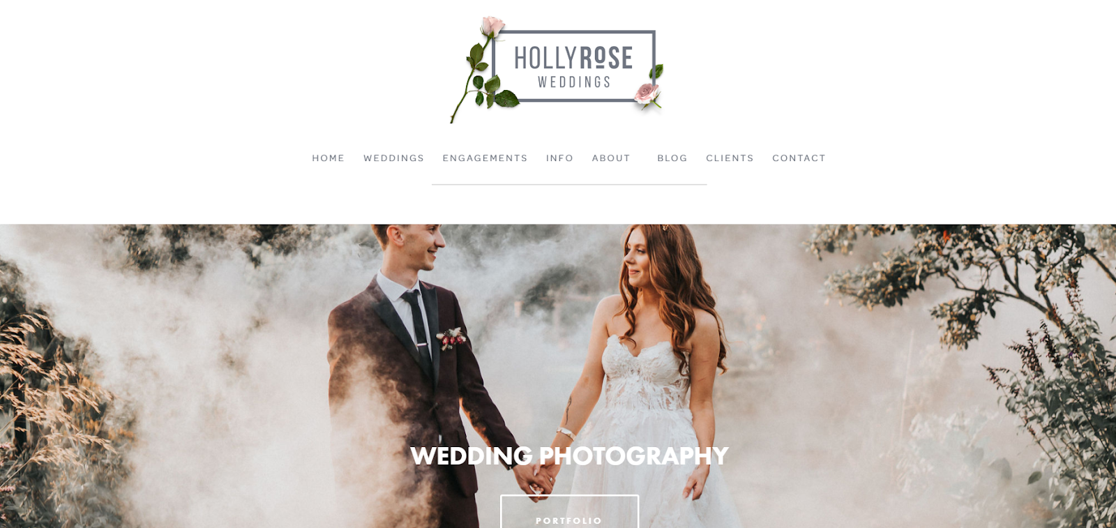 wedding photography site homepage with married couple