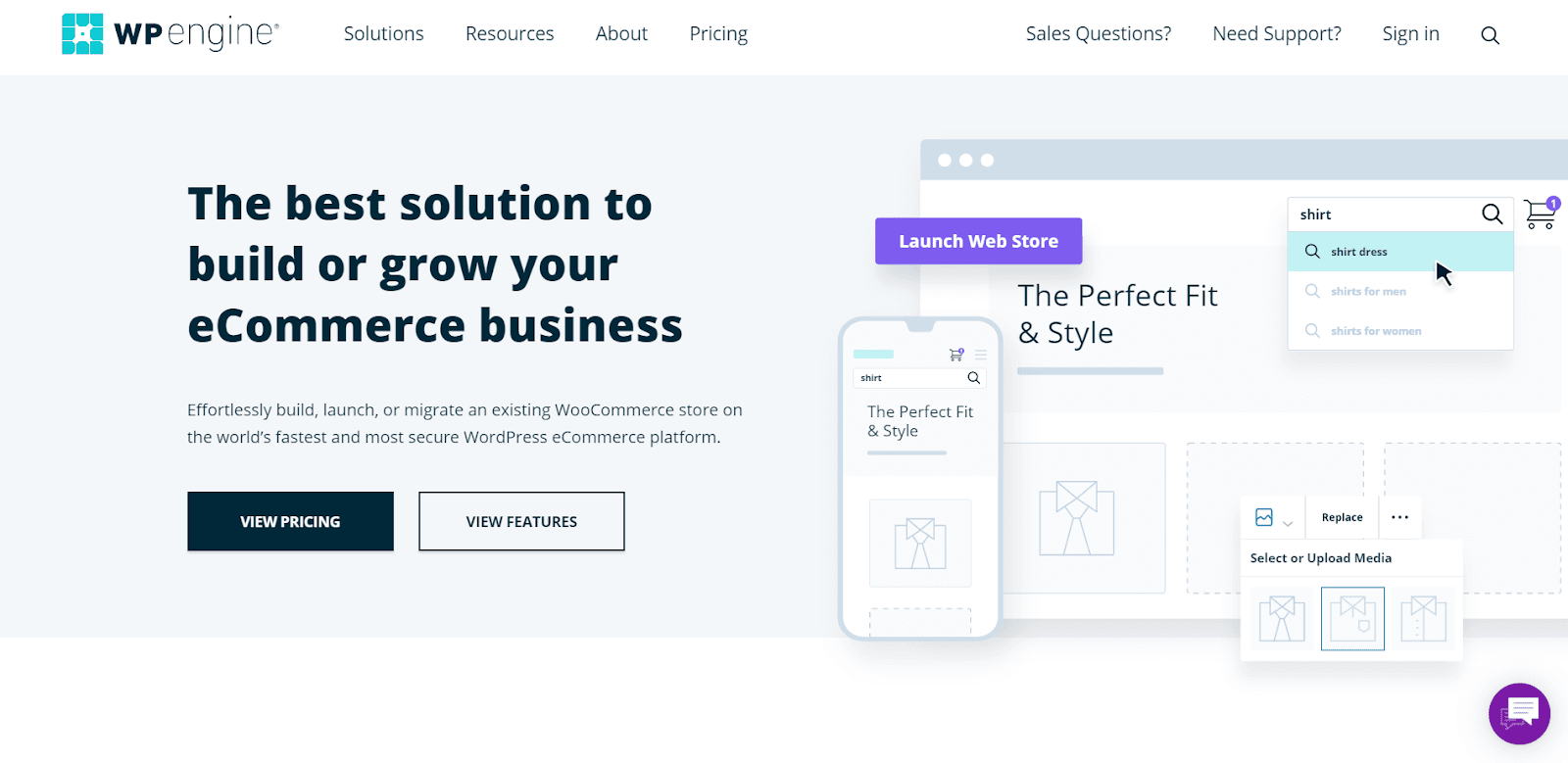WP Engine's eCommerce solution homepage.