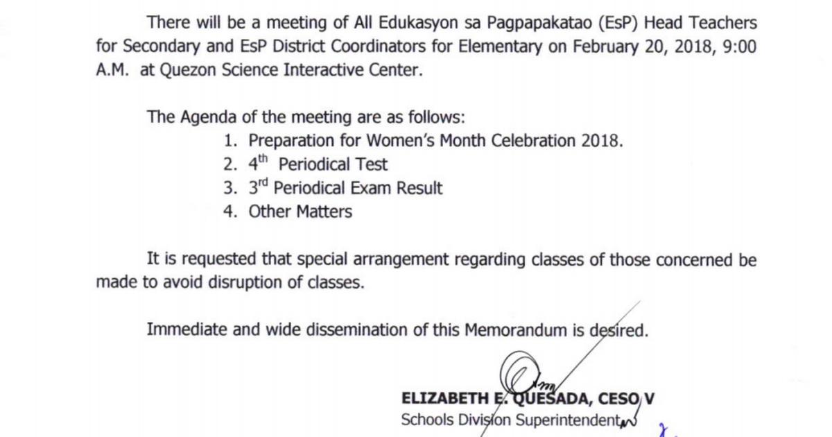 Notice of Meeting of All Edukasyon sa Pagpapakatao (EsP