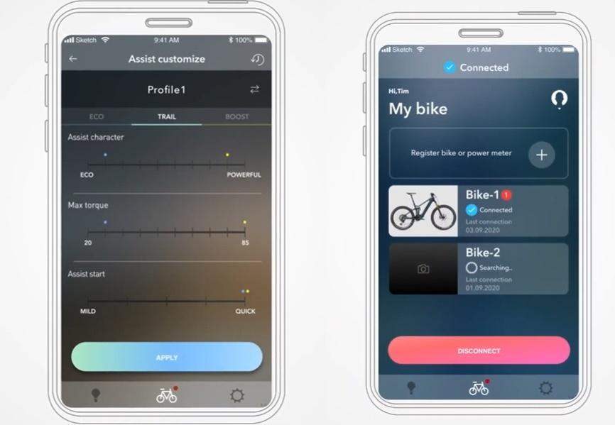 Algumas telas do aplicativo que personaliza a bike.