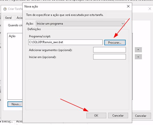 Pop-up contendo a opção de Ação, Programa/Script para selecionar o caminho demarcado em vermelho e a opção de OK abaixo, demarcado em vermelho.