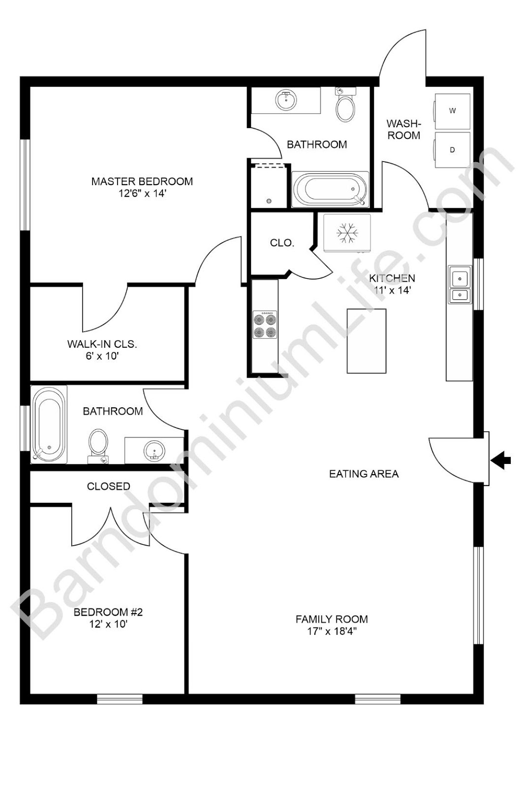 2 bedroom barndominium floor plans example 1