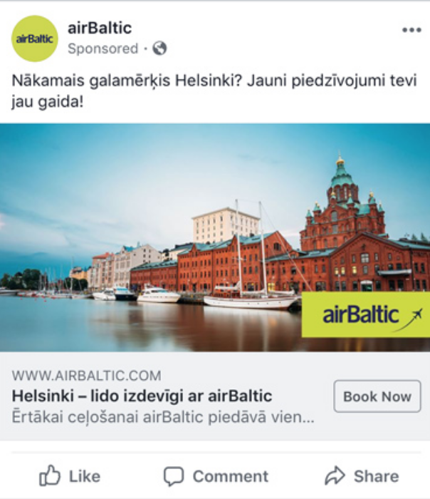 AirBaltic dynamic ad