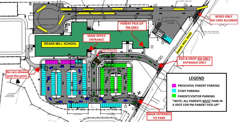 map showing the parking locations for DMS