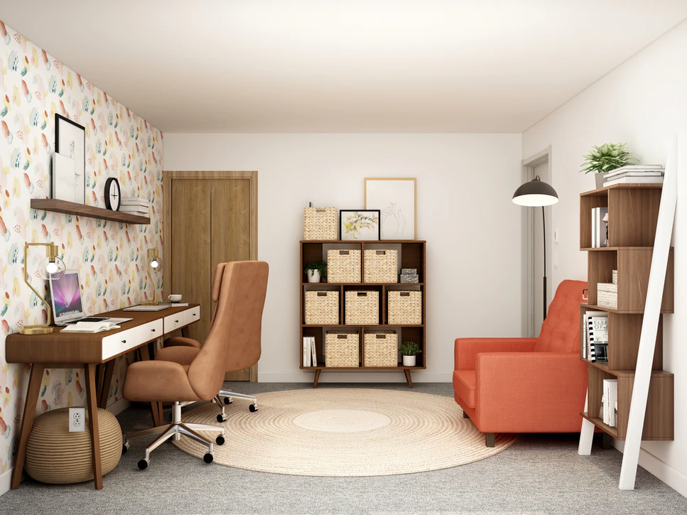 A tidy office with a desk, shelves, and an arm chair