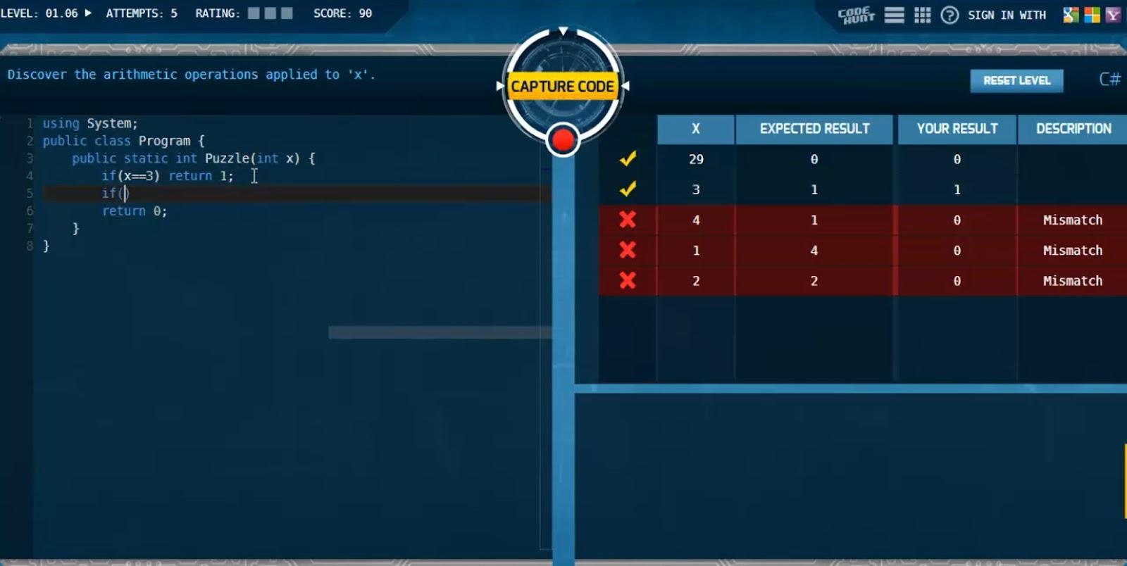 скриншот игры для программистов Code Hunt