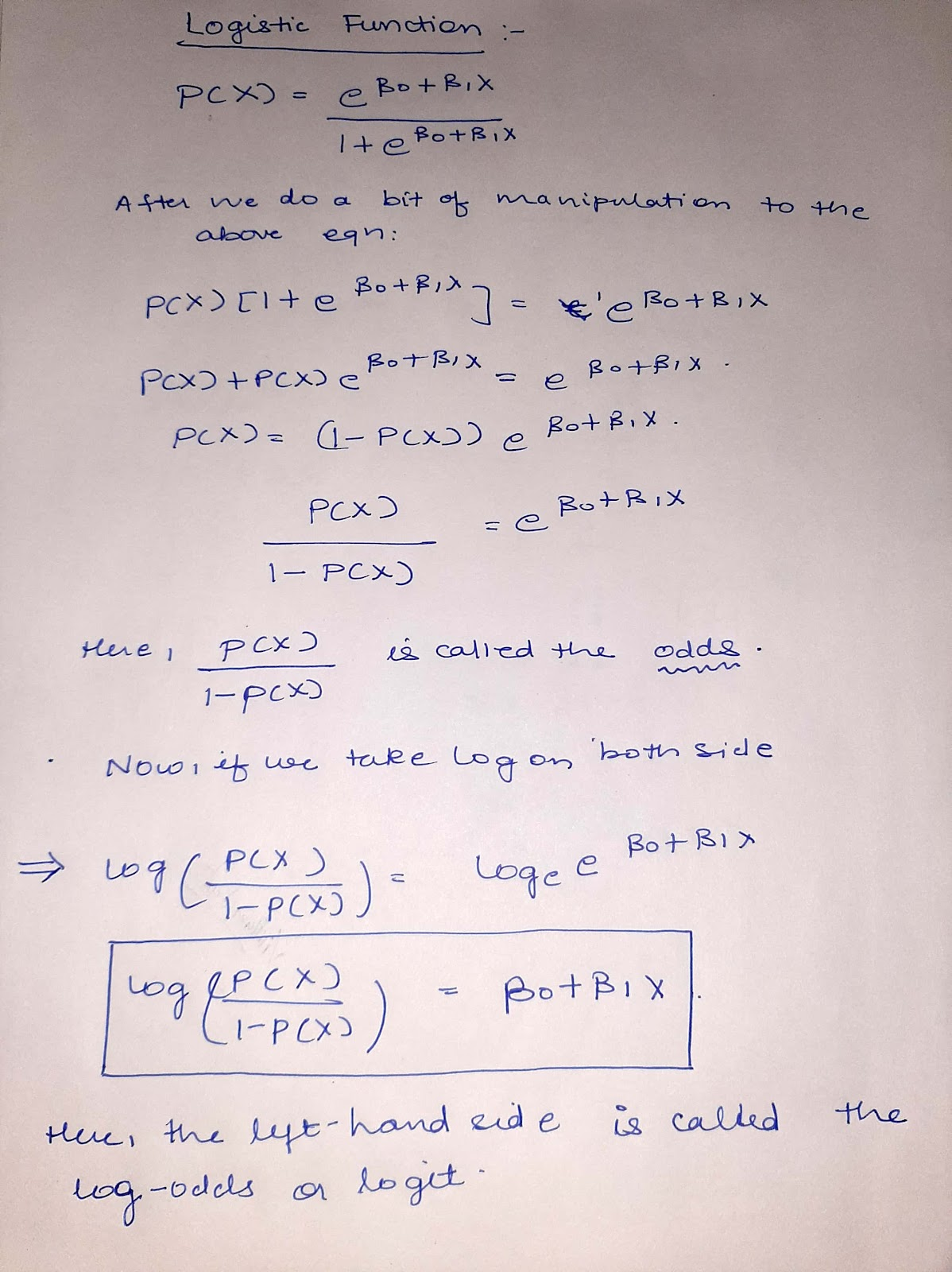logistic function derivation