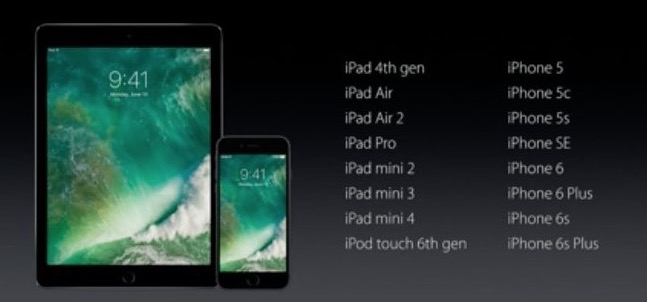 iOS 10 compatibility list from WWDC slide