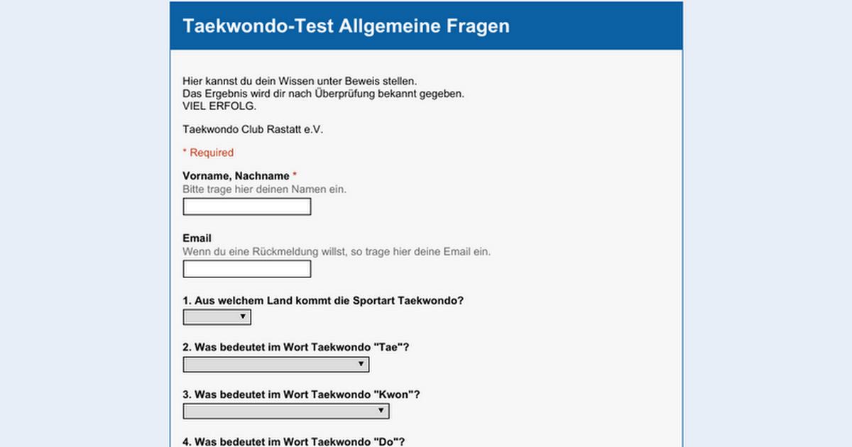 Taekwondo-Test Allgemeine Fragen