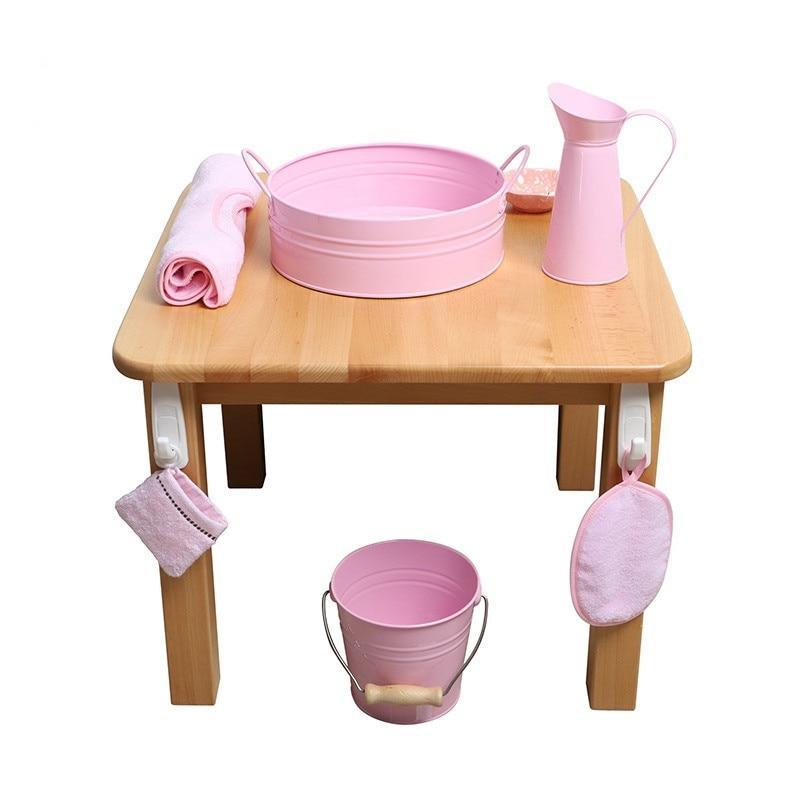 activité montessori jeu d'imitation vie quotidienne pot brosse éponge savon mobilier bois