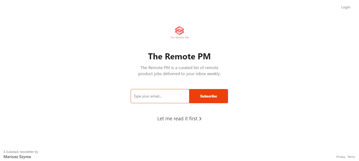 The Remote PM - Remote Product Manager Jobs Newsletter