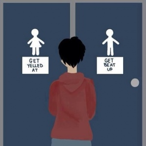 """A graphic of a person in between two doors. One has a """"female"""" character and says """"get yelled at"""" and the other has a """"male"""" character and says """"get beat up."""""""
