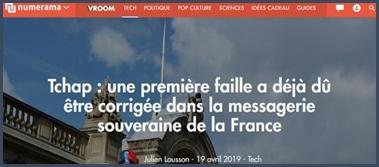 une première faille a dû être corrigée dasn tchap la messagerie souveraine de la France