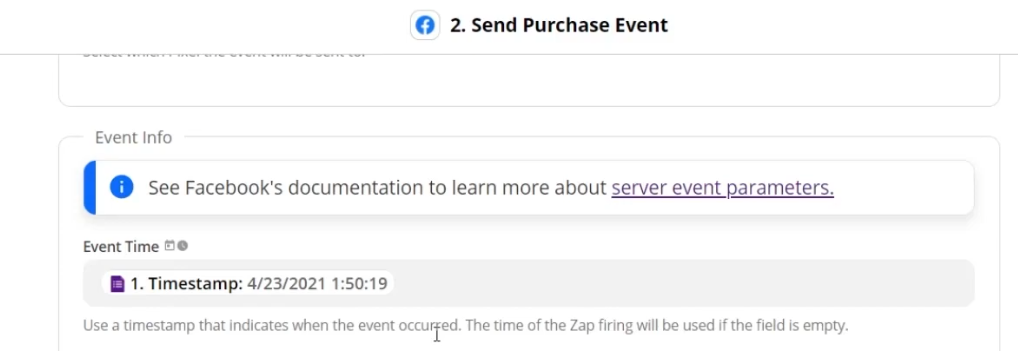 Selecting the Event Time which needs to be in Unix timestamp in seconds format