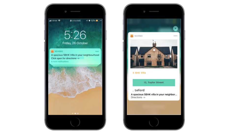 Nearby notifications to notify customers of any offers