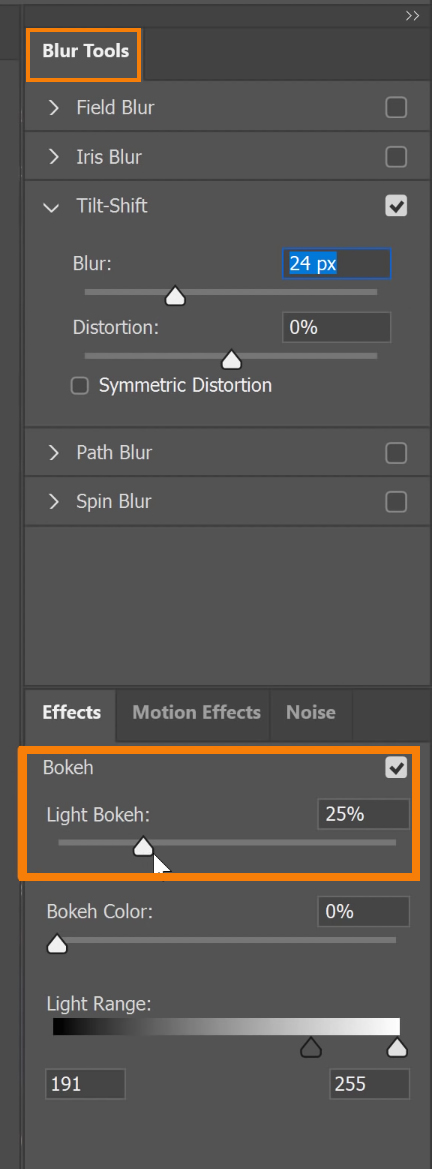 On the Blur tools and Effects panel, adjust the blur properties.