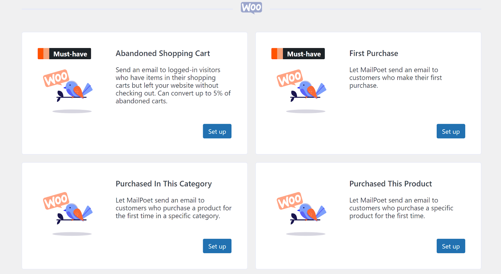 WooCommerce email options in MailPoet