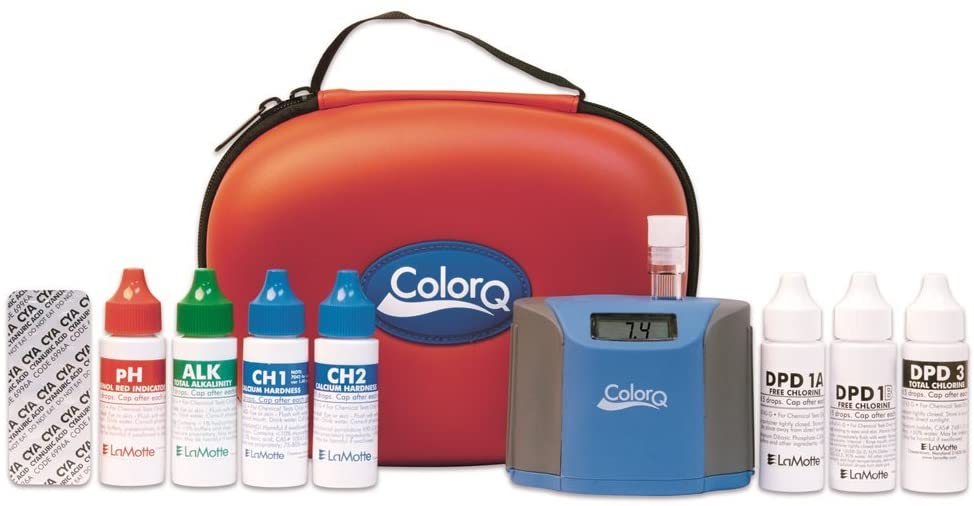 a digital pool test kit by ColorQ with a red case, and 7 chemical testing bottles