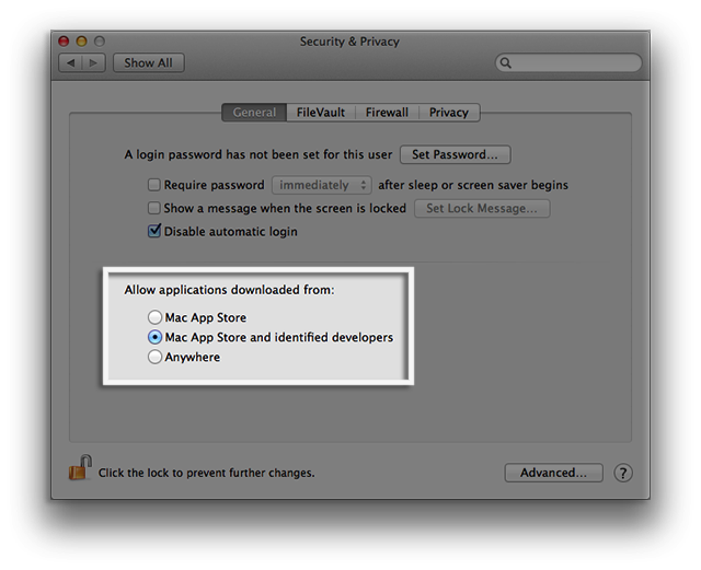 A screenshot of the Security and Privacy menu on a Mac.