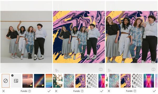 Foto de quatro amigas sendo editada pelo AirBrush com a ferramenta Fundo