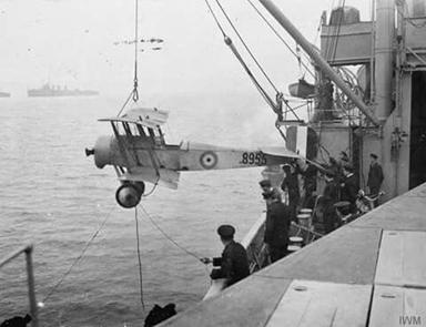 Maneuvering a Bristol Scout on HMS Vindex