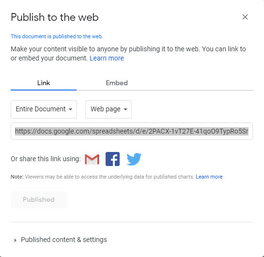 'Publish to the web link' view in Power BI