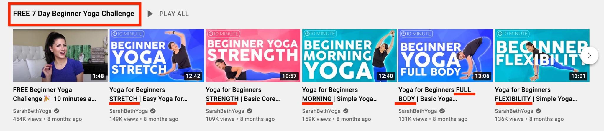 SarahBethYoga YouTube Playlist screenshot