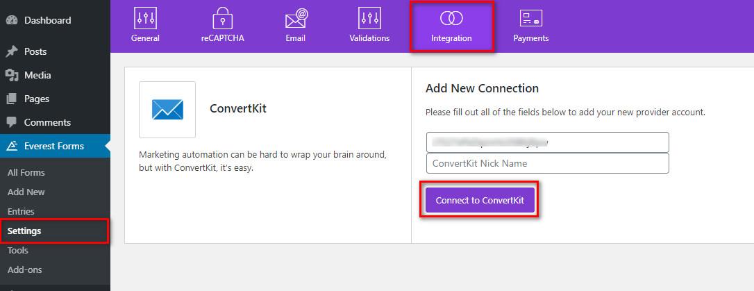 convertkit wordpress configure