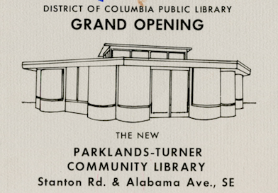 Invitation for the Parkland-Turner Grand Opening, DC Public Library Vertical File
