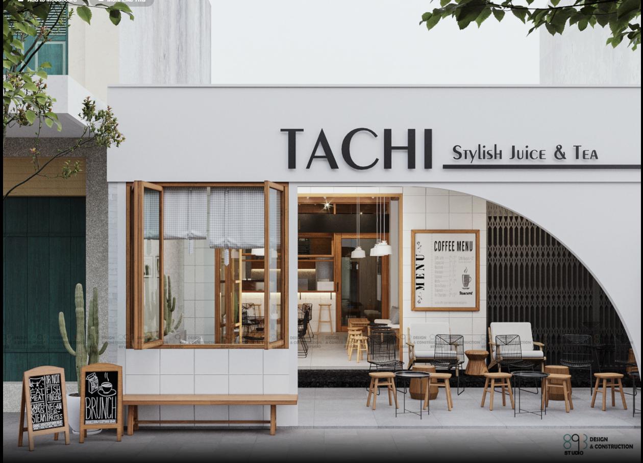 Thiết kế quán cafe mặt tiền 5m phong cách Hàn Quốc