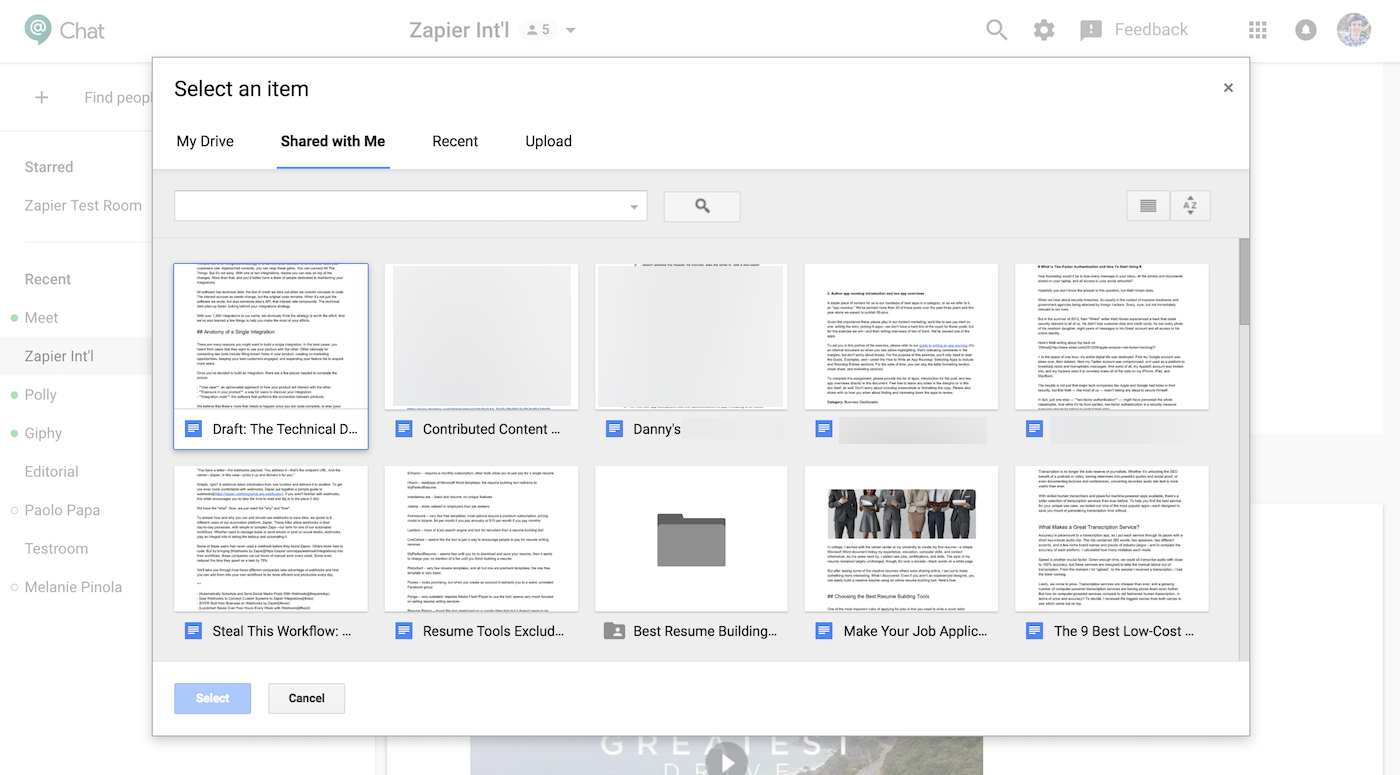 Select Document from Google Drive