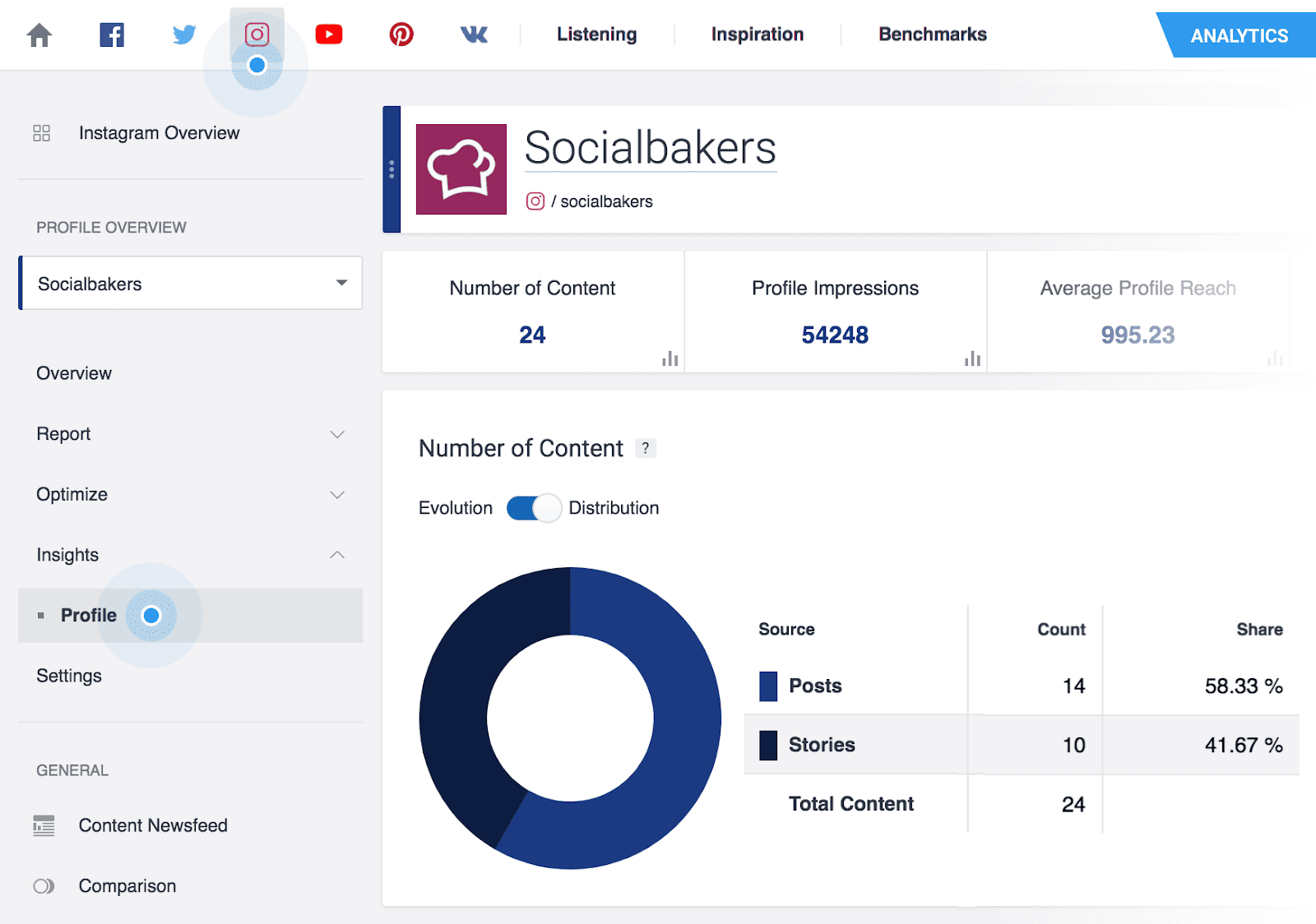 Social Bakers main dashboard