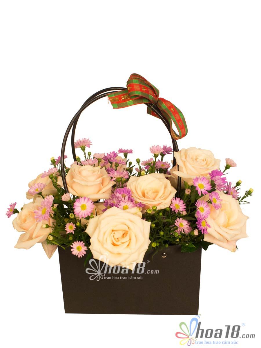giỏ hoa thạch thảo