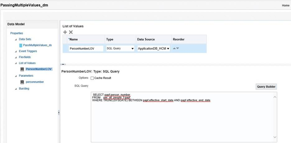 Multiple Parameter Value Selection Feature In a Oracle