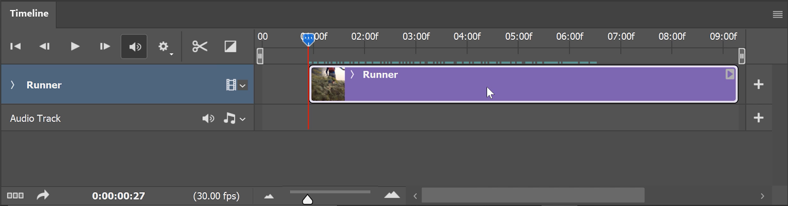 Click-and-drag the video layer's edge towards the Playhead until it snaps into place.