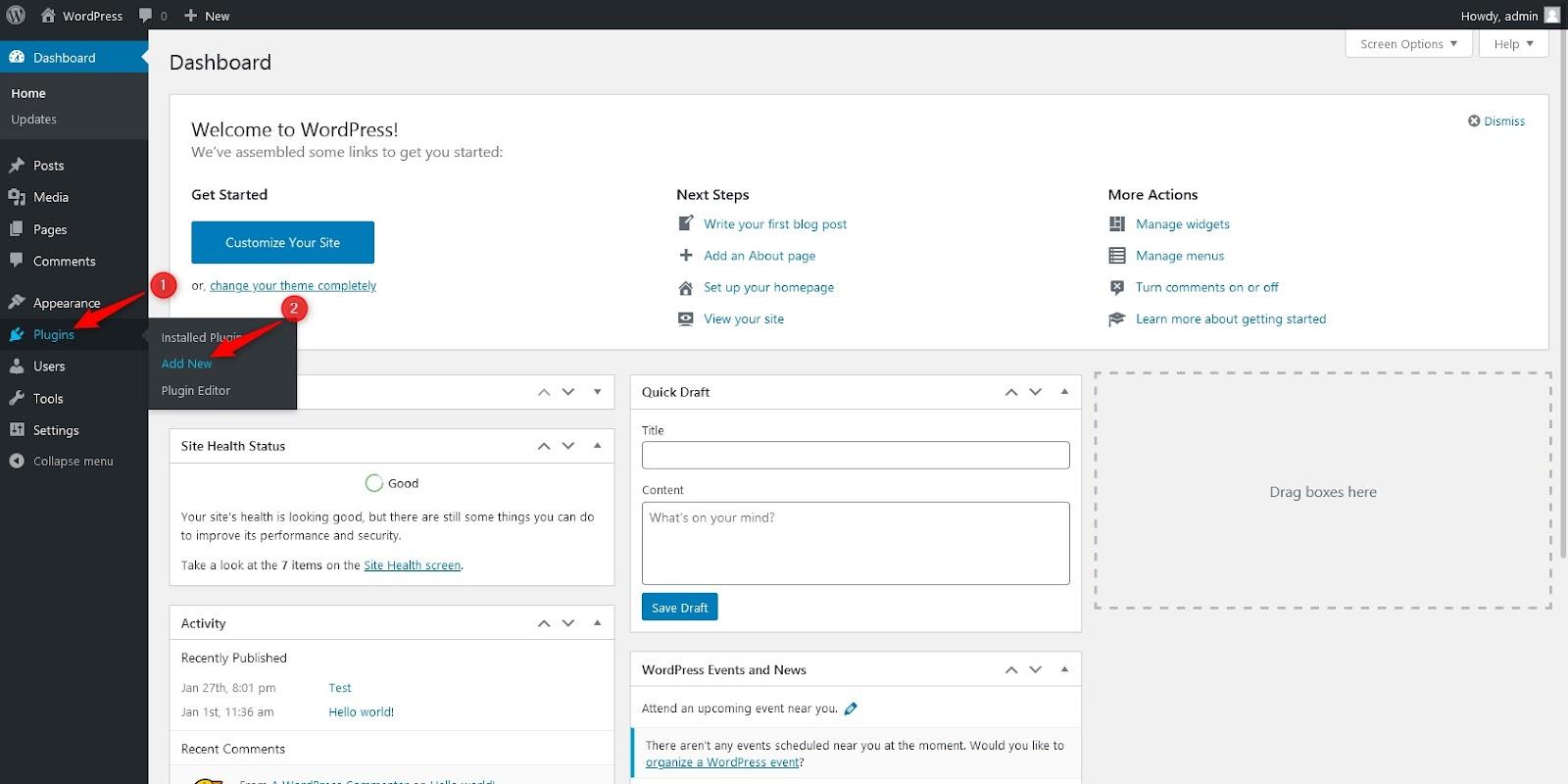 adding new plugin through WordPress dashboard