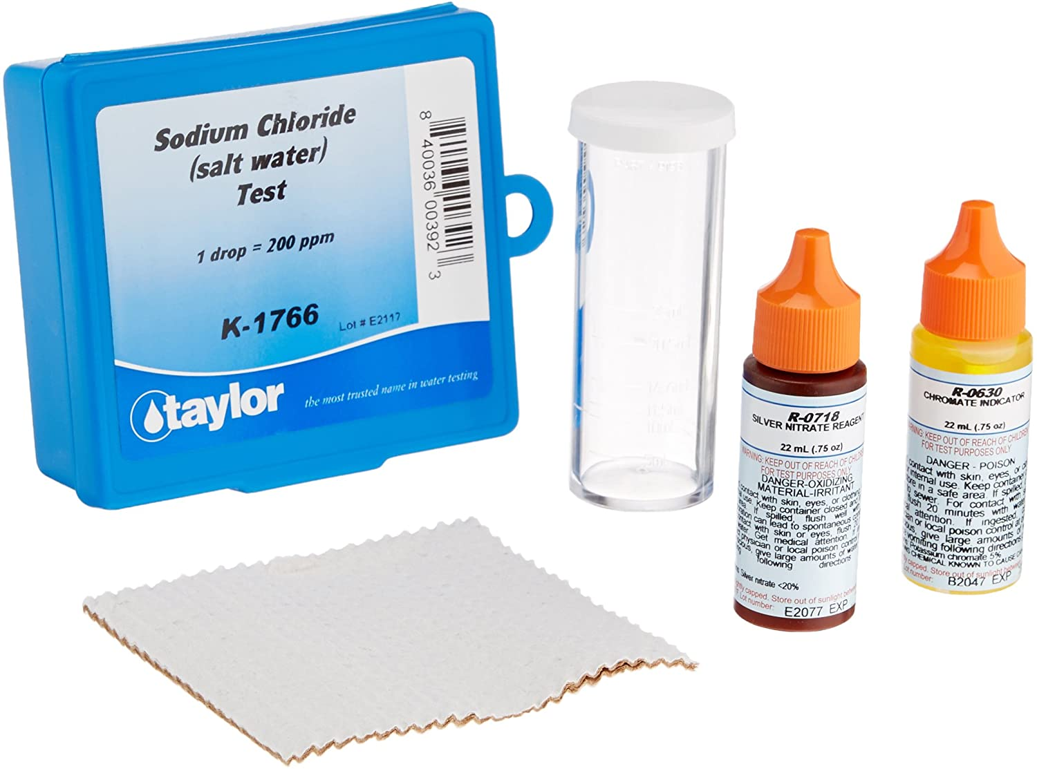 a salt water test kit with a blue box, two dye bottles and a plastic tube by Taylor Technologies