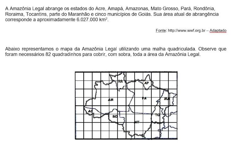 A área que cada quadradinho representa, em quilômetros quadrados corresponde a