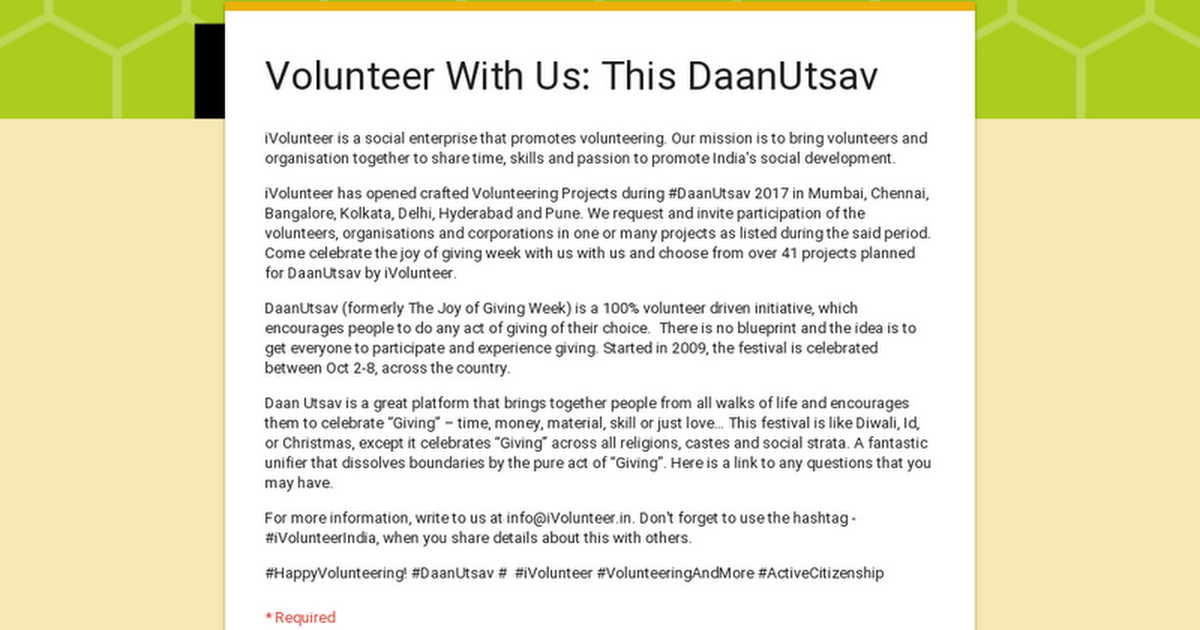 Volunteer With Us: This DaanUtsav