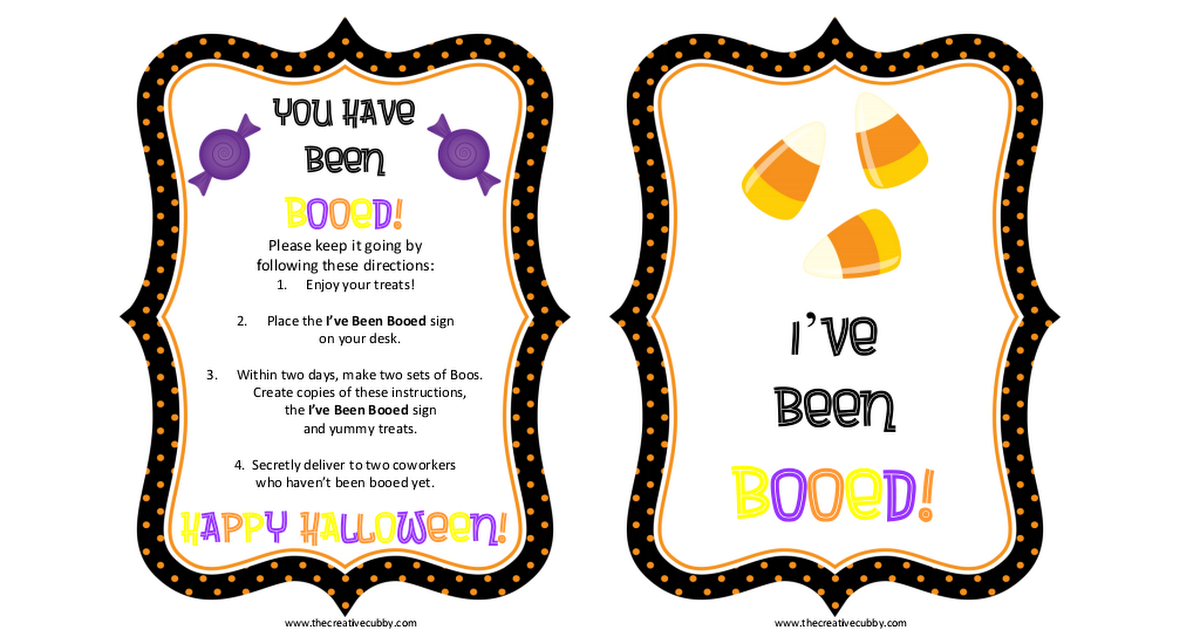 It's just an image of Gutsy You've Been Booed Printable Pdf