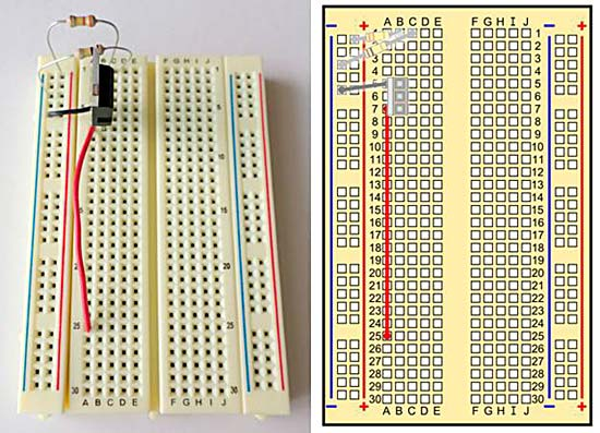 A breadboard with resistors, wires, and a transistor.