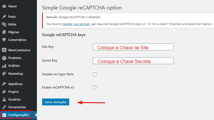 configurações do plugin simple google recaptcha no wordpress