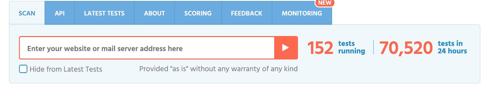 """SSL test """"enter your website or mail server address here"""""""