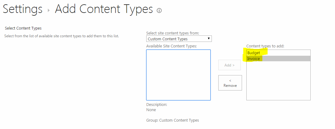 Add site content type
