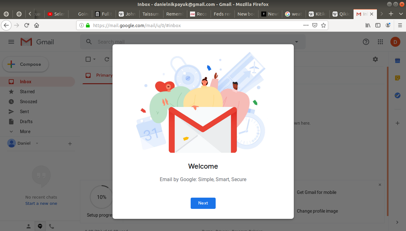 Welcome to Gmail box open