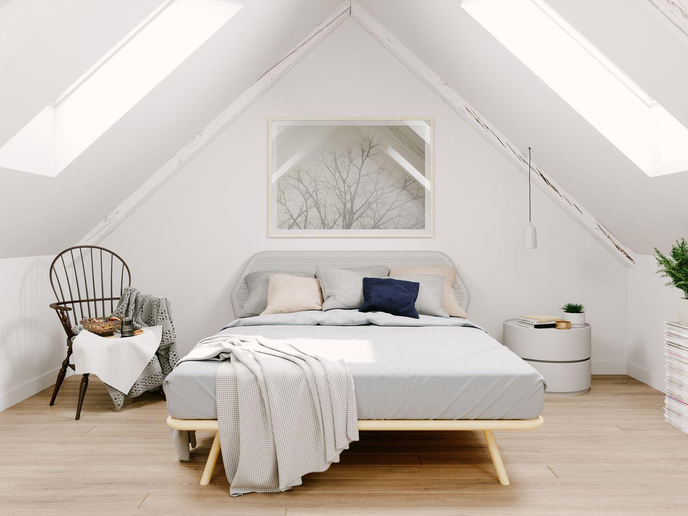 All-White Attic Bedroom Ideas
