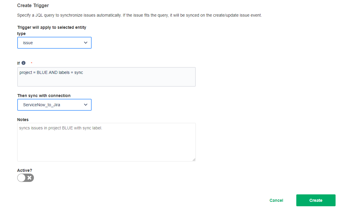 creating triggers for a jira snow sync