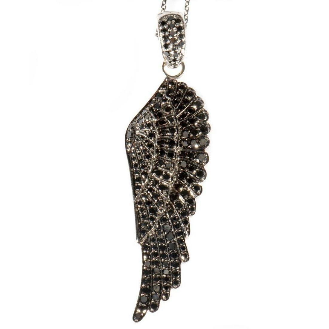 Black diamond, 18k white gold feather pendant-enhancer